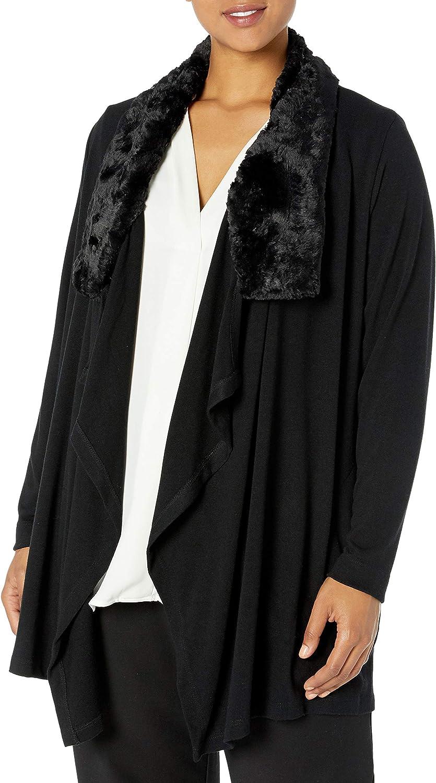 Karen Kane Women's Plus Size Faux Fur Collar Cardigan