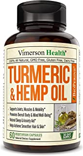 Sponsored Ad - Turmeric Curcumin with Hemp Oil Powder and Bioperine. Joint Discomfort Relief, Balanced Inflammation. Stres...