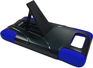 For Motorola Droid Ultra XT1080 / Motorola Droid Maxx (Late 2013) XT1080M Kickstand Hybrid Phone Cover Case + Happy Face Phone Dust Plug (T-Stand Black-Blue)