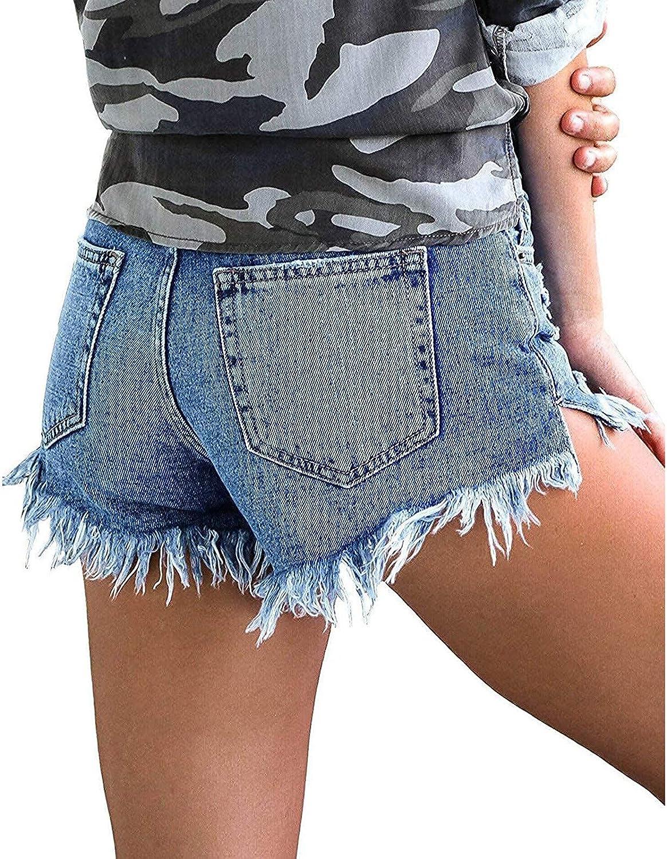 Depslee Women's Denim Shorts, Short Jeans with Stretch Frayed Frayed Hem, Summer Women's Denim Shorts hot Pants with Pockets (04-Blue,Large)