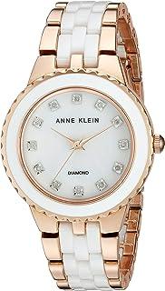Anne Klein Women's AK/2712WTRG Diamond-Accented Rose Gold-Tone and White Ceramic Bracelet Watch
