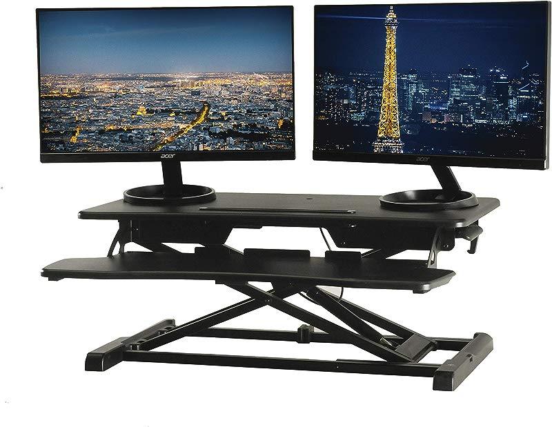 TechOrbits Standing Desk Converter 32 Height Adjustable Stand Up Desk Riser Sit To Stand Desktop Workstation