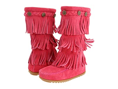 Minnetonka Kids 3-Layer Fringe Boot (Toddler/Little Kid/Big Kid) (Hot Pink Suede) Girls Shoes