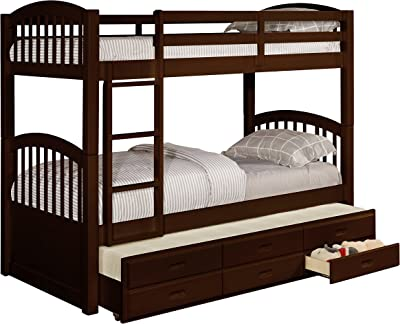 Amazon Com Woodland Staircase Bunk Bed With Urban Trundle Antique