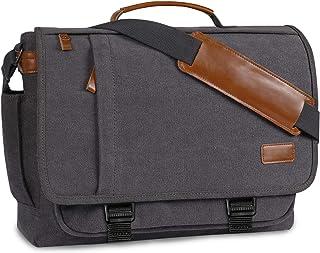 Canvas Satchel Messenger Bag, BERTASCHE Water Resistant Laptop Shoulder Bag Briefcase in 17-17.3 Inch for Men Women
