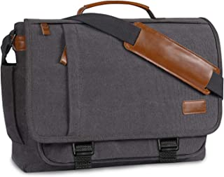 Messenger Bag Mens Satchel Bag,Bertasche Canvas Laptop Bag 17-17.3 Inch for Men