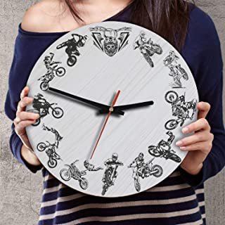 VTH Global 12 Inch Silent Battery Operated Motocross Dirt Bike Wood Wall Clocks Gifts for Riders Bikers Lovers Men Boys