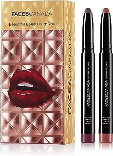 Faces Canada HD Lipstick Duo Gift Box - Tea Rose + Wine Shot 2.8g (Nude + Wine)