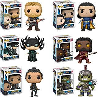 Funko Pop Thor Ragnarok Thor Gladiator Suit #240, Loki Sakaarian #242, Hela Masked #243, Heimdall #245, Valkyrie Scavenger Suit #244, Hulk Helmeted Gladiator #241 Vinyl Figures SET