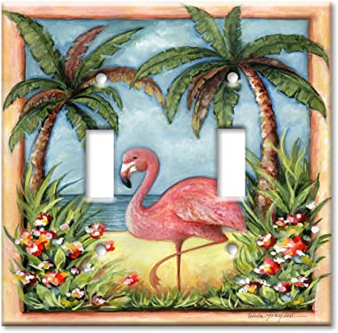 Double Gang Toggle Wall Plate - Flamingo
