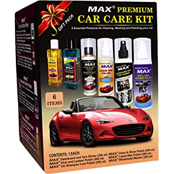 MAX Premium Car Care Kit (Pack of 6 Items - 200 ML Each and Foam 4 Pieces)
