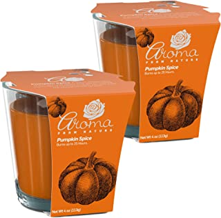 Aroma From Nature Pumpkin Spice 4 oz AireCare Scented Candle - 2 Pack - Aromatherapy Candles - Home Fragrance - Apothecary...