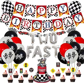 Two Fast 2nd Second Birthday Party Supplies Set-Banner Balloons Cupcake Toppers, Racing Car Birthday Party Decorations Pac...