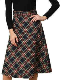 Women's Plaid High Waist Belted Vintage A-Line Midi Skirt