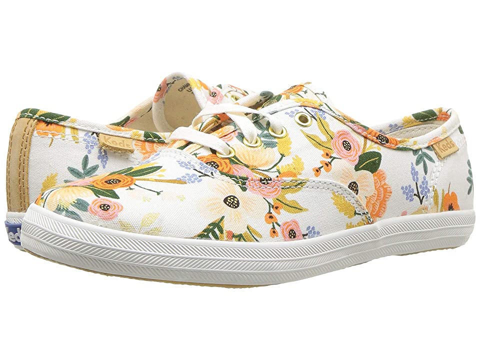 Keds x Rifle Paper Co. Kids Rifle Paper Champion Seasonal (Little Kid/Big Kid) (Lively White) Girls Shoes