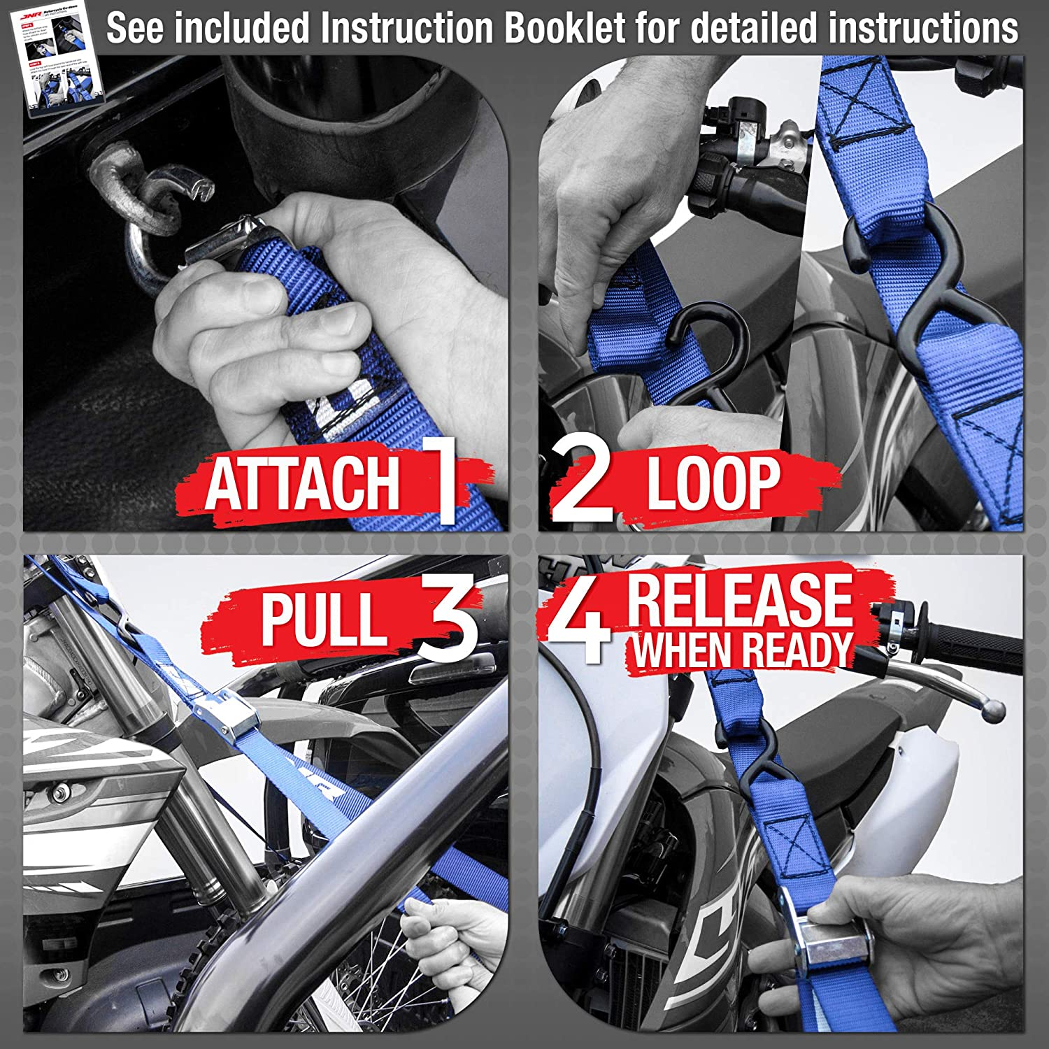 JNR Moto Sports Motorcycle Tie Downs Cam Buckle Motorcycle Straps Easier Than Retractable Ratchet Strap Set ATV UTV tie Down Straps Tie Down Strap Ratchet Straps Motorcycle Tie Down Straps Heavy Duty
