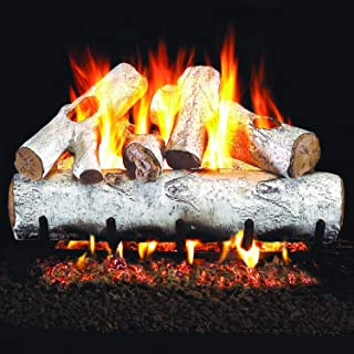 Peterson Real Fyre 18-inch White Birch Log Set With Vented Propane Ansi Certified G46 Burner - Variable Flame Remote