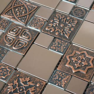 Copper Color Stainless Steel Metal Mosaic Tile for Kitchen Backsplash Wall (10 Sheets)