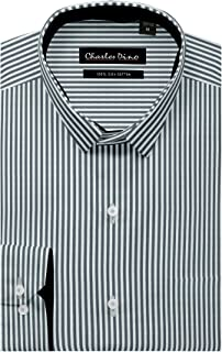Charles Dino White and Black Striped Shirt, 100% Cotton, Reguler FIT Mens Smart Formal WEAR Shirt