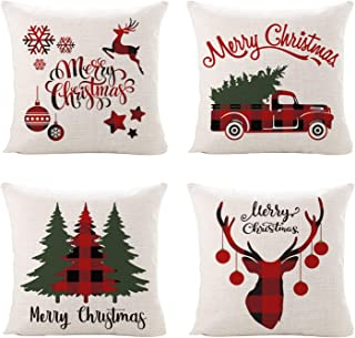 Sinpooo Christmas Throw Pillow Covers, 18 X 18 Inch Cotton Linen Decorative Pillowcases for Sofa, Couch and Bed (4 Pack Christmas3)