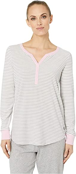 Cozy Fleece Long Sleeve Henley Top