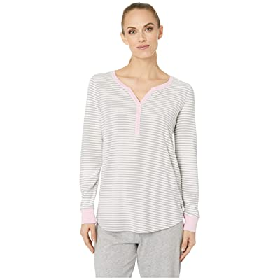 Jockey Cozy Fleece Long Sleeve Henley Top (Mini Grey Stripe) Women