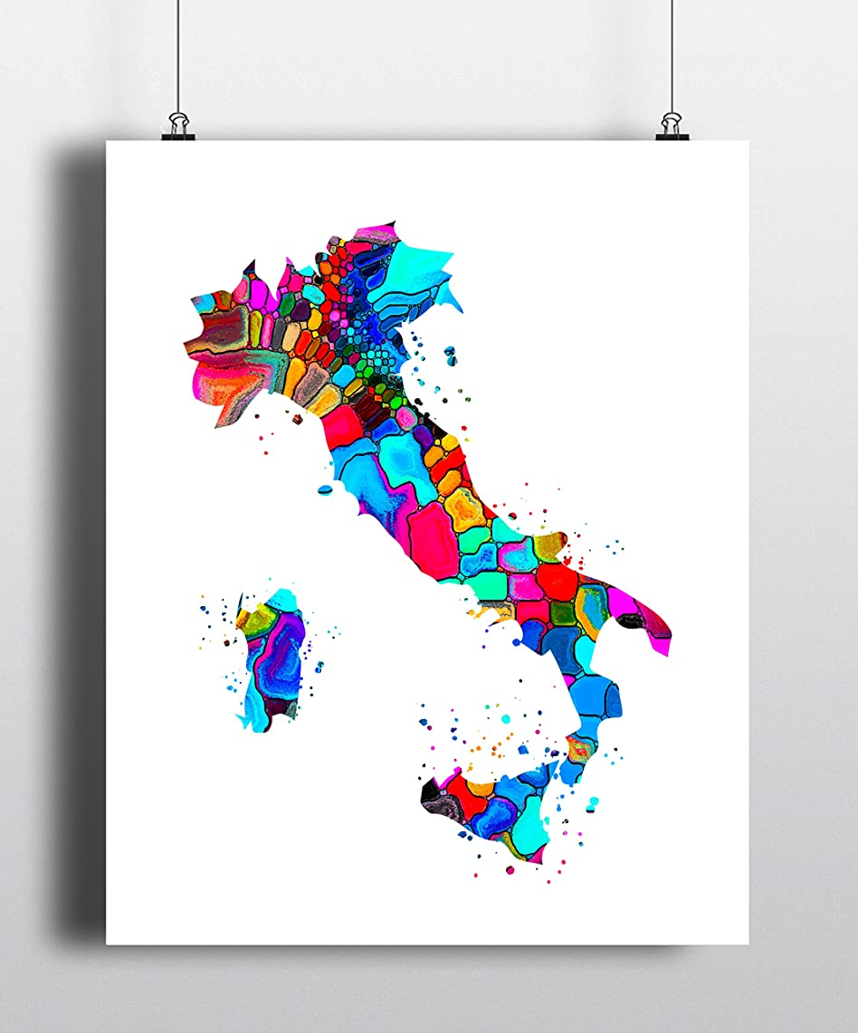 Italy Map Art Print, Poster, Wall Art, Contemporary Art, Modern Wall Decor, Office Decor ( UNFRAMED)