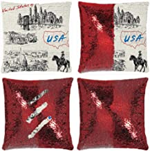 Huayuanhurug Hand Drawn USA Map Nostalgic Landscapes Skyscrapers Cowboy with Horse Metropolis Sequin Pillow Case Flip Sequin Throw Pillow Cover Sublimation Throw Pillow Cover 18