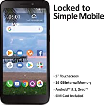 $39 » Simple Mobile TCL A1 4G LTE Prepaid Smartphone (Locked) - Black - 16GB - Sim Card Included - GSM