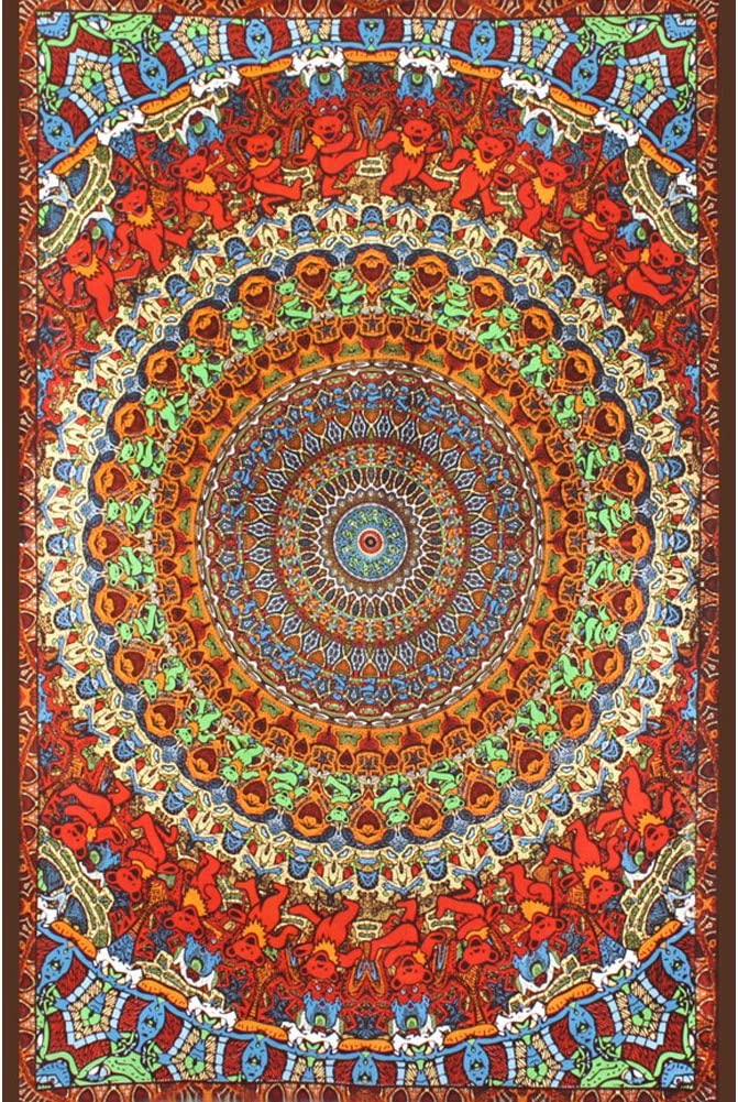 Sunshine Joy Grateful Dead 3D Tableclo Bear New Super sale period limited color Tapestry Psychedelic