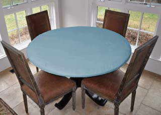 "LAMINET Elastic Fitted Table Cover - Basketweave (Blue) - Large Round - Fits Tables up to 45-56"" Diameter"