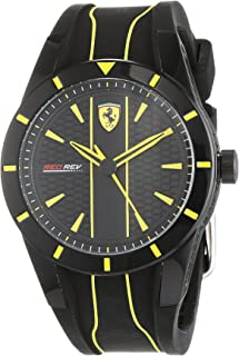 Ferrari Mens Quartz Watch, Analog Display and Silicone Strap 830480