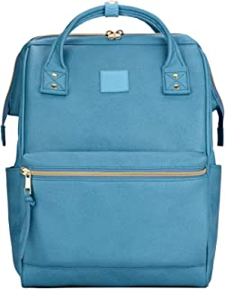 Kah&Kee Leather Backpack Diaper Bag with Laptop Compartment Travel School for Women Man (Turquoise Blue, Large)