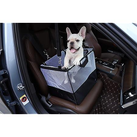 Hundebox Für Autositz Hundekorb Mit Weichem Plüschboden Verstellbarem Abnehmbarem Gurt Atmungsaktivem Netz Gegen Tierhaare Matsch Schmutzigen Pfoten Mit Aufbewahrungstasche Haustier