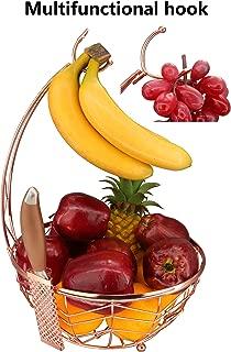 ROSYLINE,Fruit Basket + Banana Holder, Elegant Fruit Bowl with Banana Tree Hanger, (Rose Gold)
