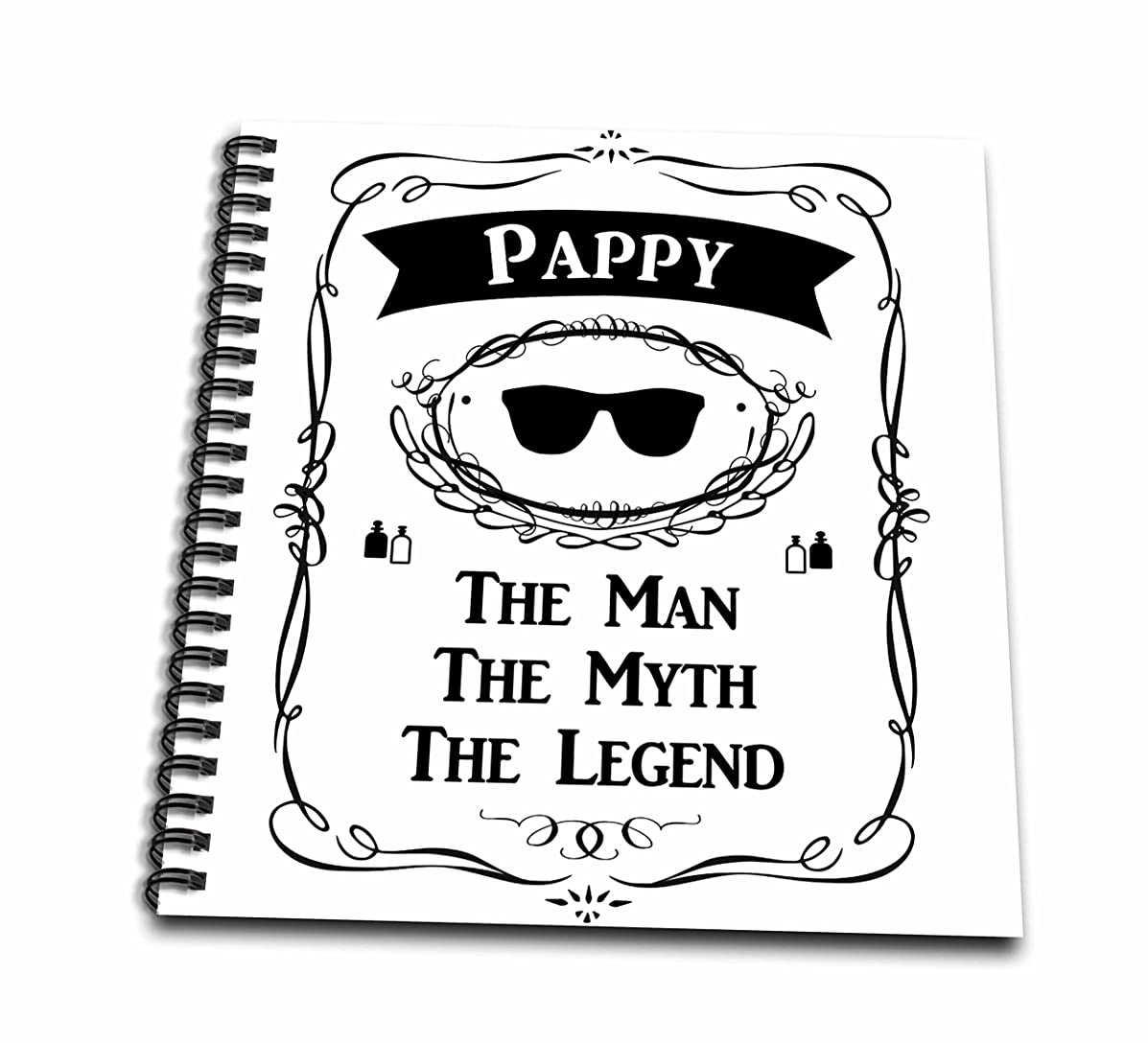 3D Rose Pappy The Man The Myth The Legend Fun Funny Grandpa Grandfather Gift Drawing Book