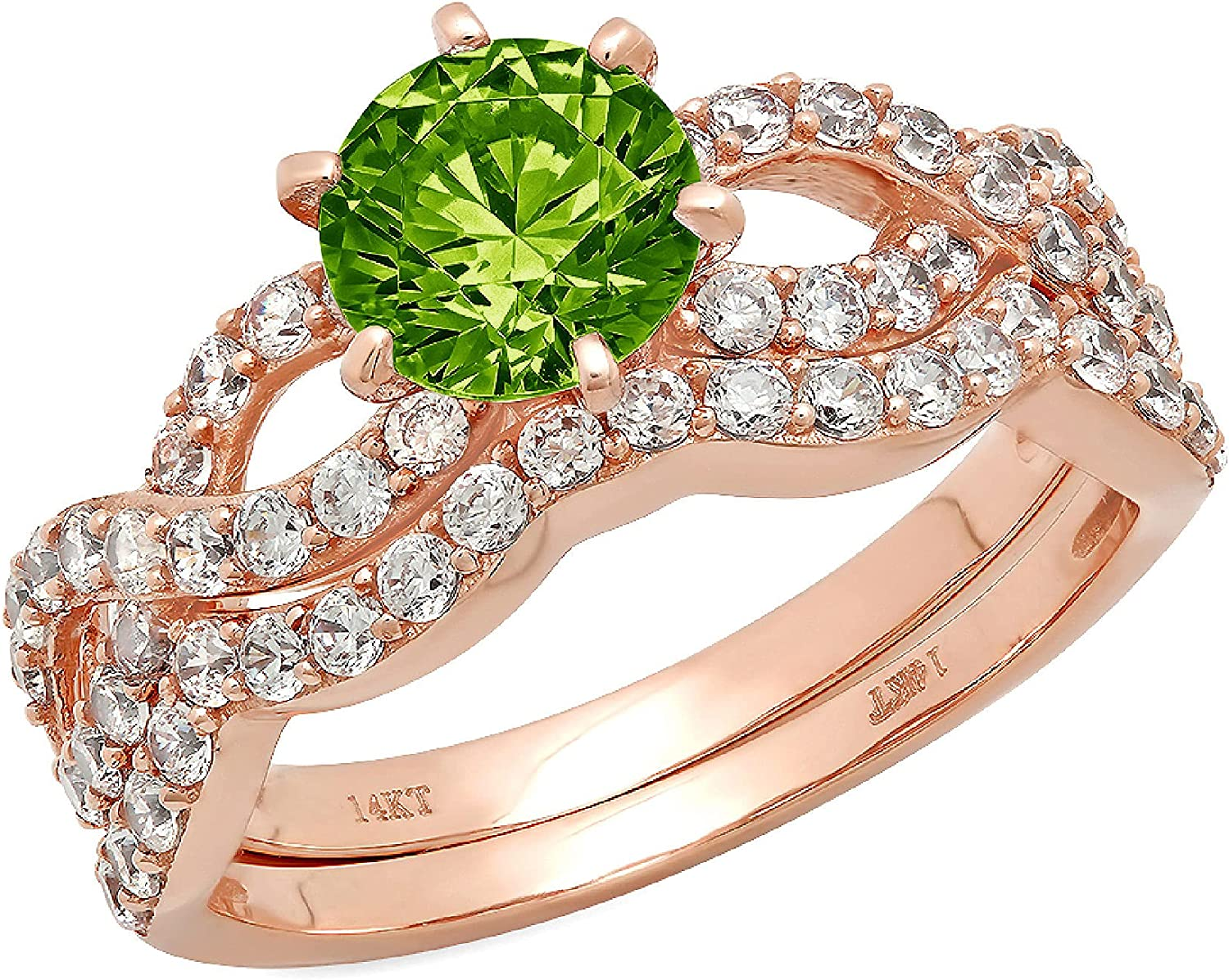 Clara Pucci 1.55ct Round Cut Halo Pave Solitaire Unique Accent Genuine Flawless Natural Green Peridot Engagement Promise Statement Anniversary Bridal Wedding Ring Band set Curved 18K Rose Gold