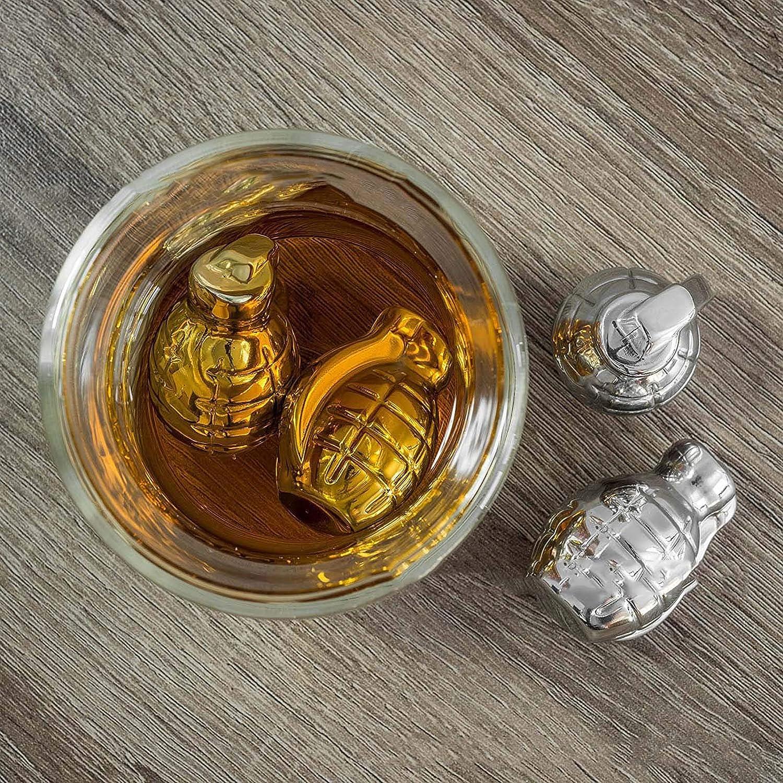 Regalo,2PCS Cubitos De Hielo De Acero Inoxidable 304 YLLYI Cubitos De Hielo De Metal En Forma De Granada Vino Tinto Paletas De Hielo De Enfriamiento Piedra De Whisky