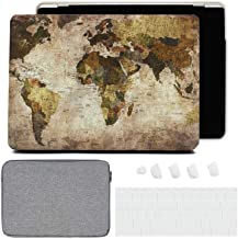 DHZ Laptop Case for MacBook Pro 13 A2159/A1989/A1706/A1708 (2019/2018/2017/2016) w/Leather Hard Shell Cover,Keyboard Cover,Sleeve,Dust Plug (4 in 1 Bundle),World Map