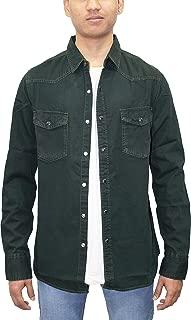 Southbay Men's Dark Olive Long Sleeve Denim Casual Shirt Cum Jacket