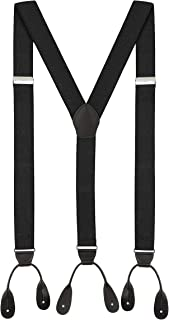 Fashion Accessories Leather Tuxedo Suspenders for Men: Button Pant Braces Clothes Accessory with Elastic, Y Back Design - ...