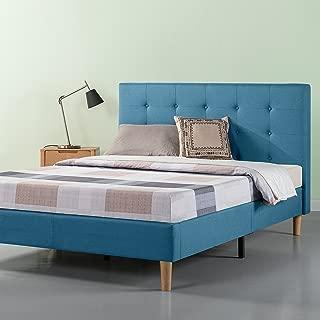 Zinus Ibidun Upholstered Button Tufted Platform Bed / Mattress Foundation / Easy Assembly / Strong Wood Slat Support / Riverside Blue, Full