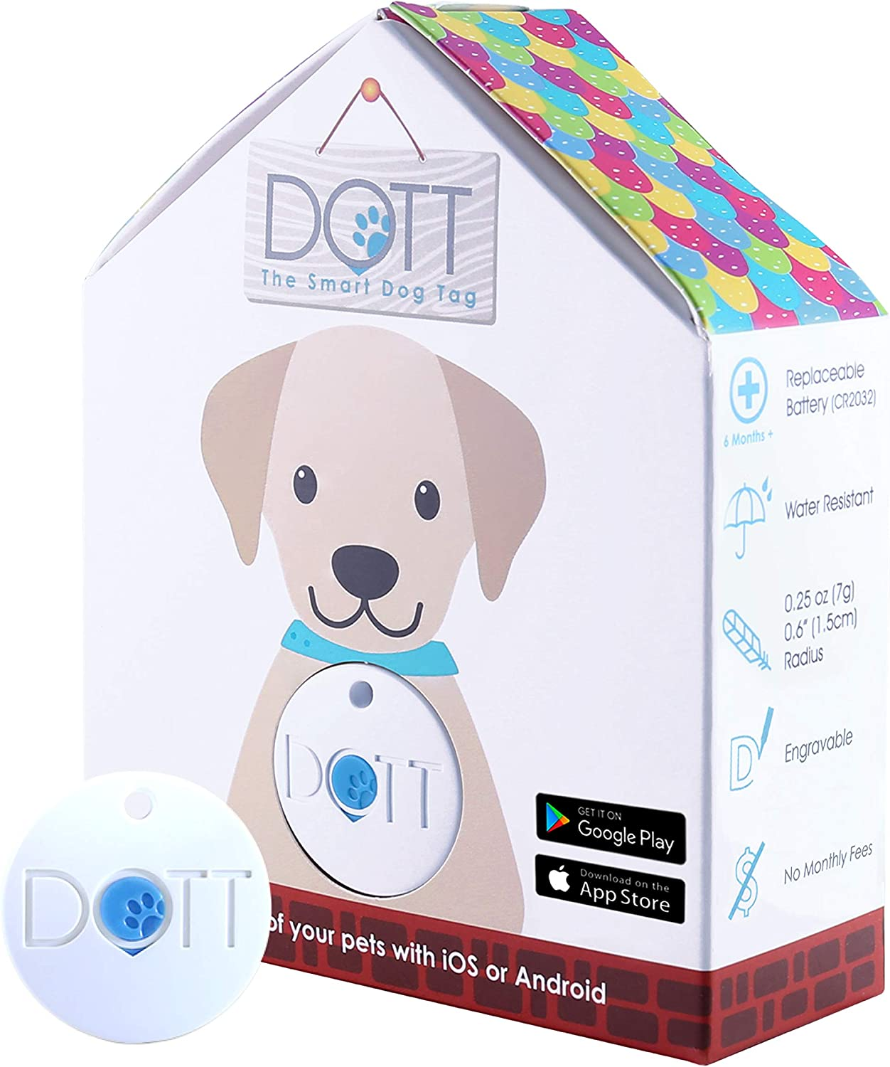 DOTT The Smart Tag blueetooth Tracker for Dogs and Cats, Pet Finder