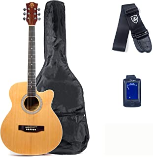 Care2Rock Acoustic Guitar Beginner Bundle, Includes Private Lesson, Tuner, Picks, and Strap