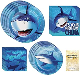 Shark Birthday Party Supplies, Boys Pool Party, 16 Guests, 65 Pieces, Disposable Paper Dinnerware, Plate and Napkin Set