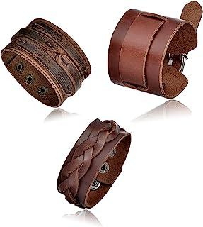 b4ecc901b61f02 Tornito 3Pcs Genuine Leather Bracelet Braided Biker Cuff Strap Punk Wide  Belt Bangle Wristband for Women