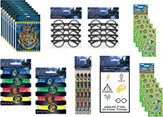 Unique Harry Potter Party Favor Set includes Loot Bags, Tattoos, Glasses, Pencils, Bracelets, Stickers - 44 Pieces