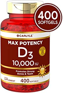 Vitamin D 10000 IU Huge Size 400 Softgels | Max Potency | Promotes Strong Bones and Teeth | Non-GMO, Gluten Free Supplement | by Carlyle