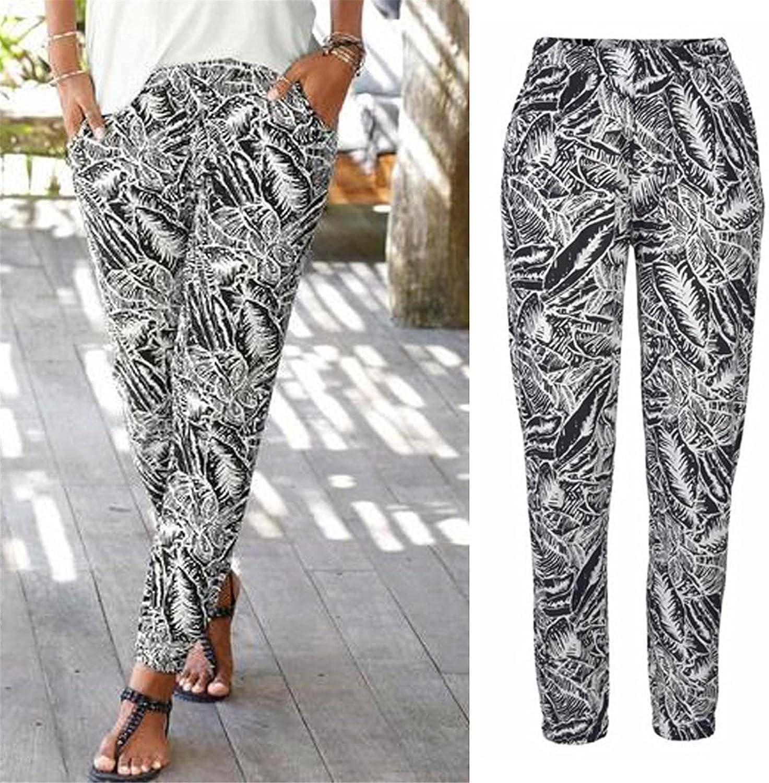 Yiihappy Women High Waist Printing Easy Trousers Long Pants Boho Beach Pockets Pants