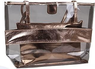 Freie Liebe Women 2 in 1 Clear Tote Bag Large Travel Bag Beach Shoulder Handbag with Interior Pocket